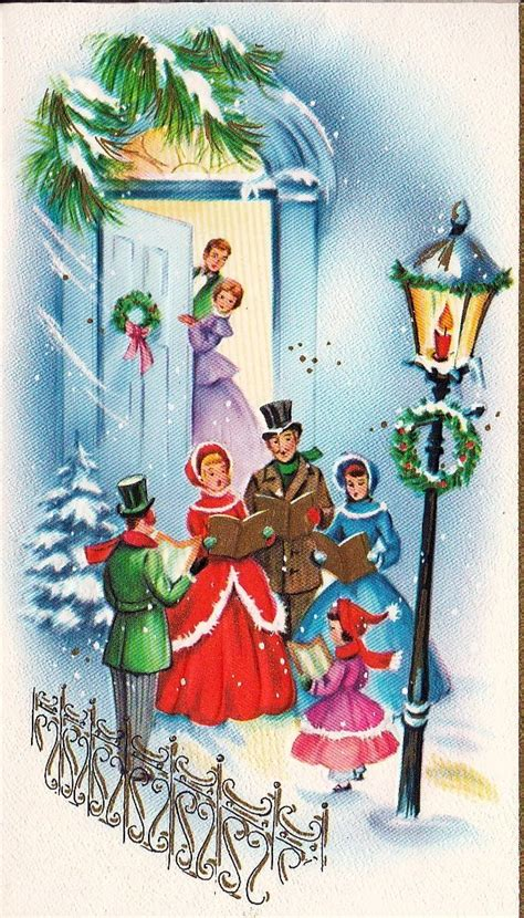 fashioned christmas cards carolers