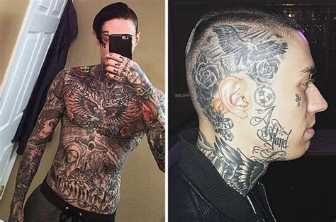 miley cyruss brother shows  fully tattooed body