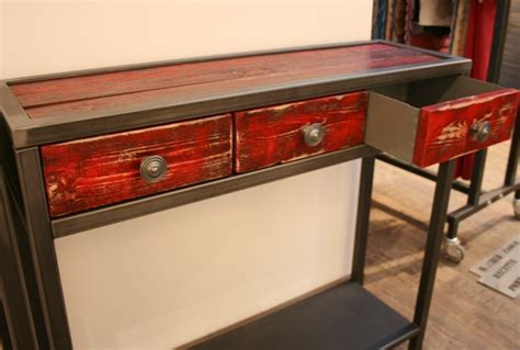 Console Metal Bois Console M 233 Tal Et Bois Tiroir Console Tiroir