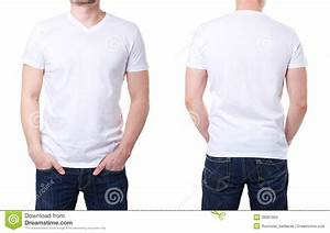 White t shirt on a young man template stock photo image for T shirt template with model