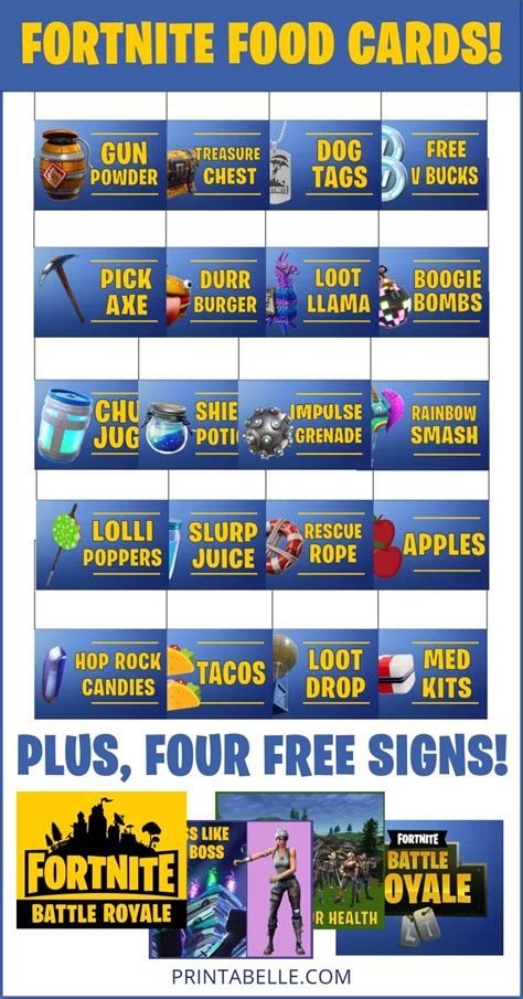 fortnite food cards party printables printable party