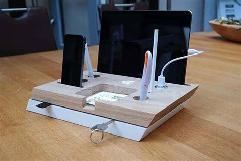 handmade desk organizer  integrated charging station