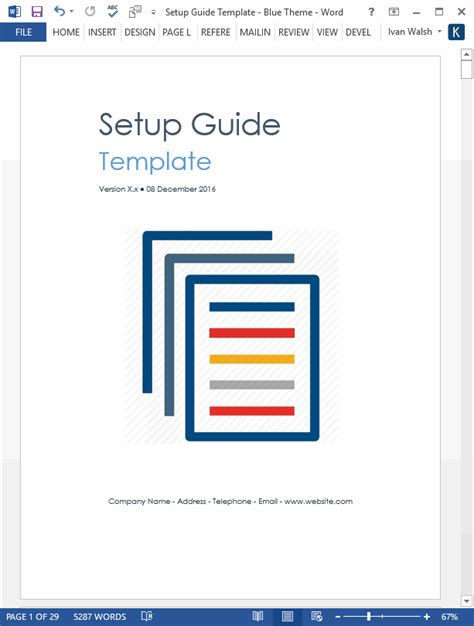 setup guide template   pg ms word template