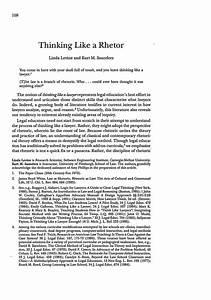 Thinking Like A Rhetor 43 Journal Of Legal Education 1993