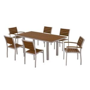 Patio Dining Sets 300 by Polywood Textured Silver 7 Patio Dining Set