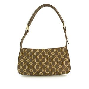 gucci monogram beige brown canvas leather strap shoulder