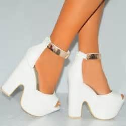 ladies white peep toe gold ankle cuff high heel wedge
