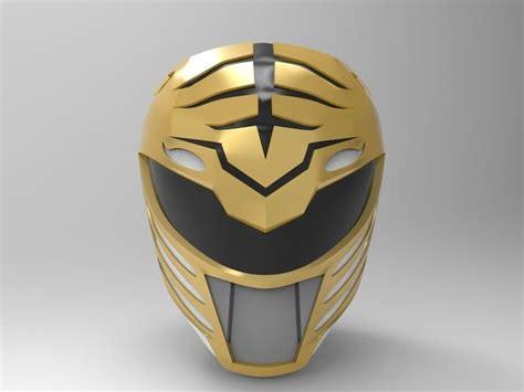 print model white ranger helmet  mmpr cgtrader