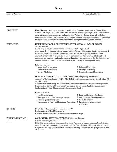 Hotel Manager Resume Sample | Resume Writing Service