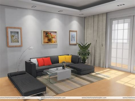 Living Hall Simple Interior Design Room Blue Rooms Designs
