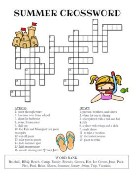 summer crossword puzzle color  bw versions