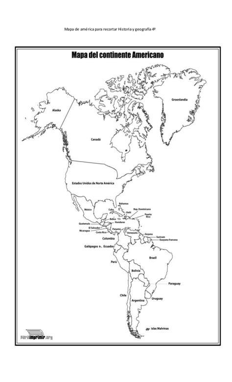 Mapa de américa para recortar historia y geografía 4º