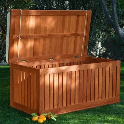 wood deck box 4 ft outdoor storage bench seating cushion