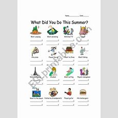 What Did You Do This Summer?  Esl Worksheet By Atomook