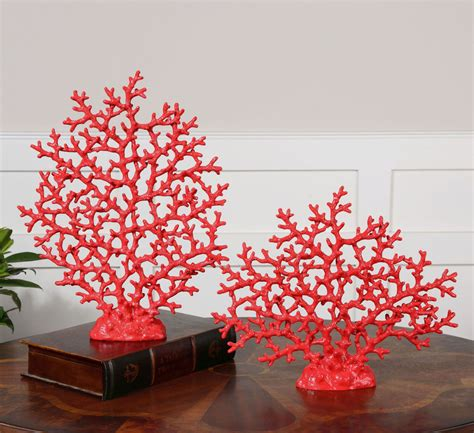 coral colored decorative accents coastal home decor fan coral sculpture set of two