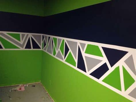 painted geometric triangle border  seattle seahawks