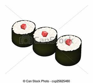 Clip Art Vector of Tuna Sushi Roll or Tuna Maki Isolated ...