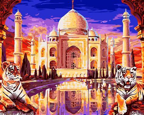 hq famous building taj mahal palace  paintings coloring