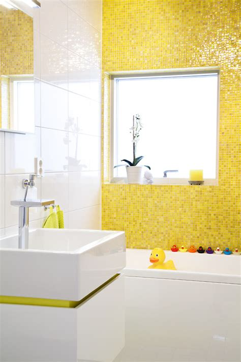 yellow tile bathroom ideas yellow tile rubber duckies modern sink fun bathroom for a kid or adult bathroom spaces