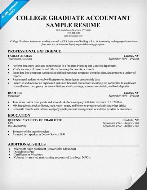Accounting Graduate Resume by College Graduate Accountant Resume Sle Resume Sles Across All Industries