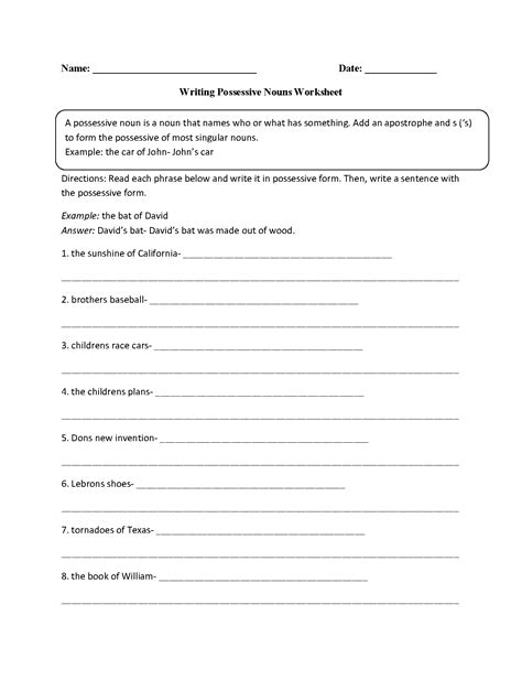 possessive nouns worksheets writing with possessive