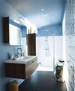mobilier table salle de bain bleu et blanc With salle de bain bleu et blanc