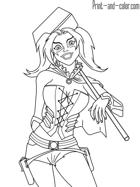 harley quinn colors harley quinn coloring pages print and color
