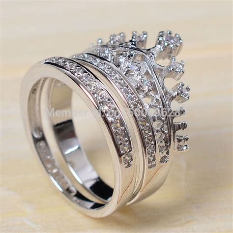 sz 5 10 top 925 sterling silver filled zirconia cz crown princess wedding ring wedding