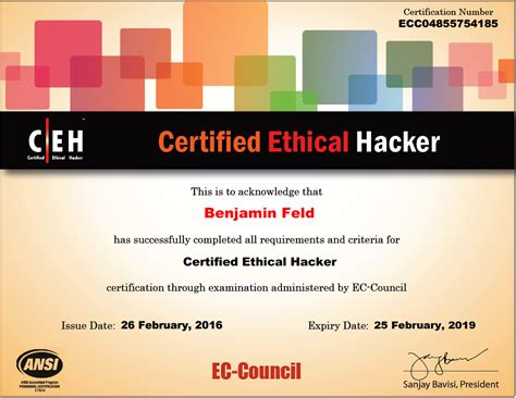 Ethical Hacker Resume by Benjamin Feld Certifications