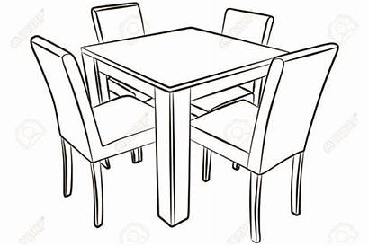 Table Drawing Dining Kitchen Chair Clipart Chairs