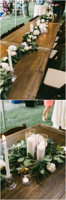 Outdoor wedding reception table decor long wooden tables
