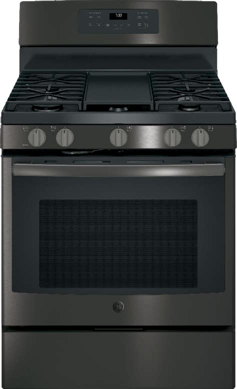 ge black slate appliance package  gas range steam  clean
