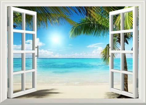 sunshine beach window view removable wall art stickers