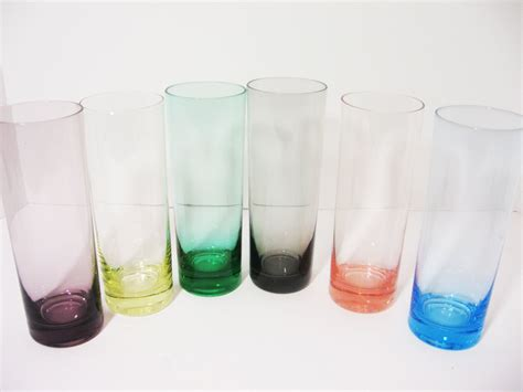 Drinking Glasses Slim Different Colored Tumblers Set Of Six