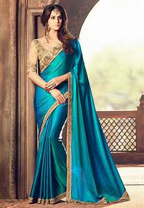 Embroidered Bordered Crepe Saree In Teal Blue   Syc6347
