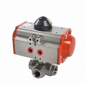 Stainless Steel 3 Way Pneumatic Actuator Ball Valve
