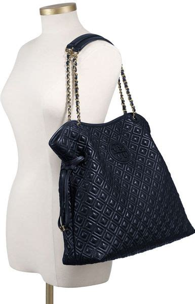 burch marion quilted slouchy tote burch marion quilted slouchy tote in blue normandy