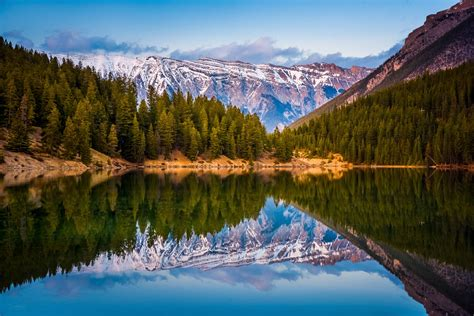 Wallpaper forest, lake, mountains, reflection, water