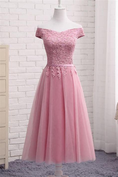 gorgeous pink   lace  shoulder prom dress cheap