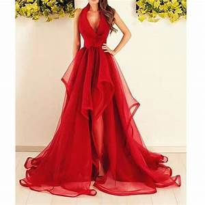 new arrival red evening dresses halter deep v neck long With long red dresses for weddings
