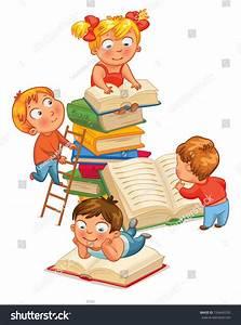 Children Reading Books Library Vector Illustration Stock ...