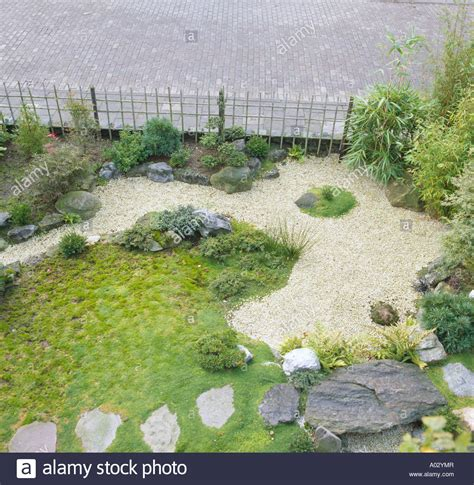 aerial view of japanese zen garden with grass and raked