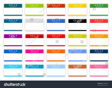 colored tags colored name tag sticker set with shadow on white stock
