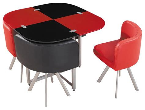 black table red chairs d536dt compact red black acrylic with leatherette five
