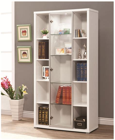 White Bookcase Cabinet by White And Glass Bookcase Display Cabinet By Coaster 950178