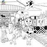 Train Thomas Coloring Drawing Halloween Printable Friends Tracks Diesel Railroad Activities Printables Sheets Colouring Cartoon Template Engine Tank Games Den sketch template