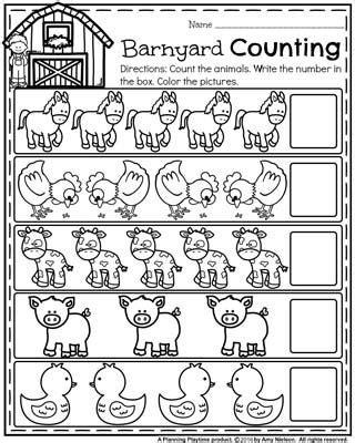 school preschool worksheets farm animals