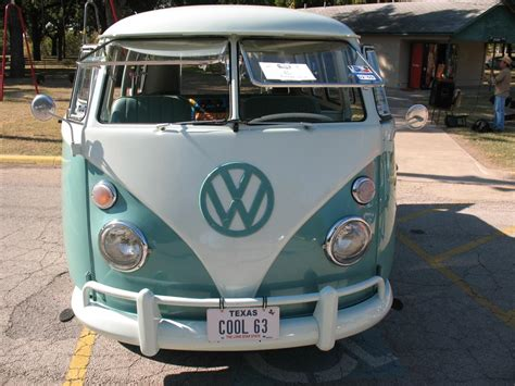 volkswagen van front mint green and white two tone 1963 vw bus in fort worth