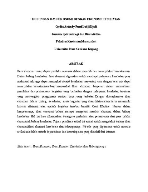 HUBUNGAN ILMU EKONOMI DENGAN EKONOMI KESEHATAN | cecilia