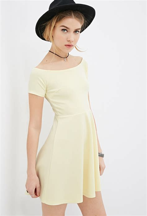 Boat Neck Dress Yellow by Forever 21 Boat Neck Fit Flare Dress In Yellow Lyst